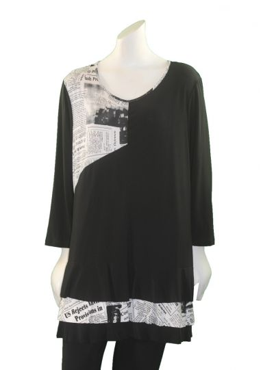 Channa Black/Newsprint Pullover Ruffle Tunic CHT-1539