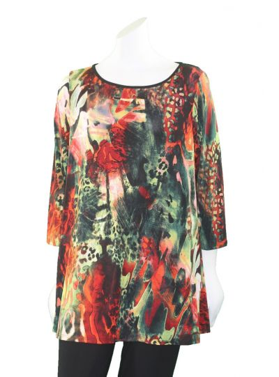Channa Plus Size Multi Printed Pullover Tunic CHT-1572-1