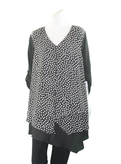 Channa Plus Size Black/White Dot Layered Blouse CHT-988