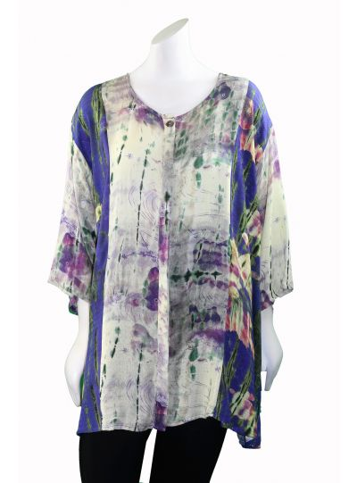 Citron Plus Size DOP Dreaming of a Pond Button Blouse 0847