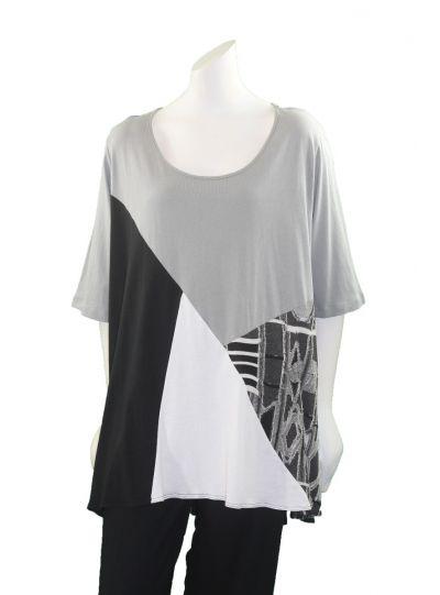 Comfy Plus Size Grey/Blk/Wht Janet Top CM119