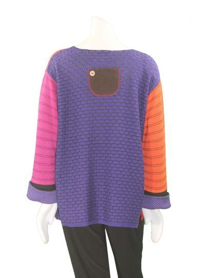 Margaret Winters Plus Size Garnet Combo Pocket Sweater CM509C