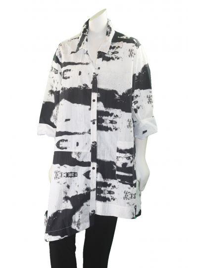 Comfy Plus Size Yolanda Print Gardenia Blouse LME101