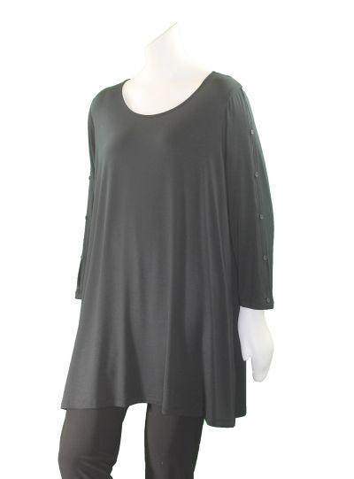 Comfy Plus Size Black Open Button Sleeve Tunic M807