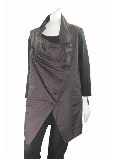 Comfy Andrew Polka Dot Multi Button Front Vest Me131P