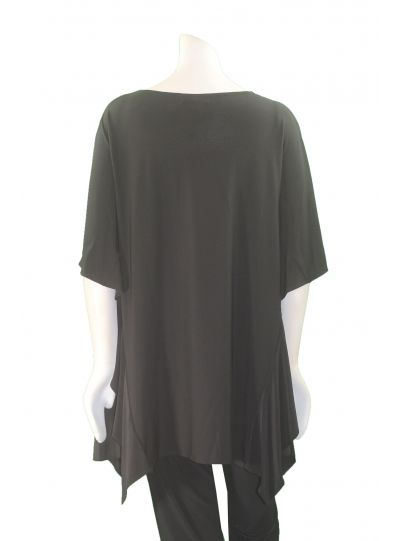 Comfy Plus Size Black Side Ruffle Top SK172
