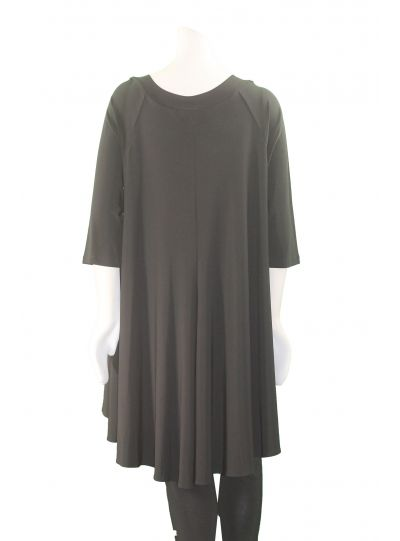 Sun Kim/Comfy Plus Size Black Grommet Neckline High Low Tunic SK180