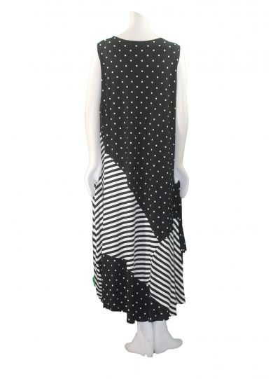 Comfy Plus Size Polka Dot/Striped Sleeveless Kelly Dress SK339