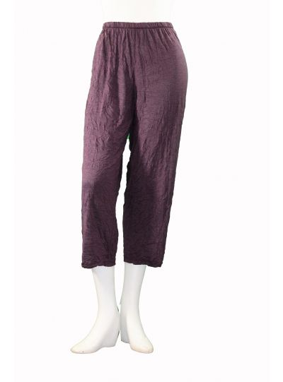 Comfy Plus Size Heather Plum Crinkle Narrow Crop Pant WC230