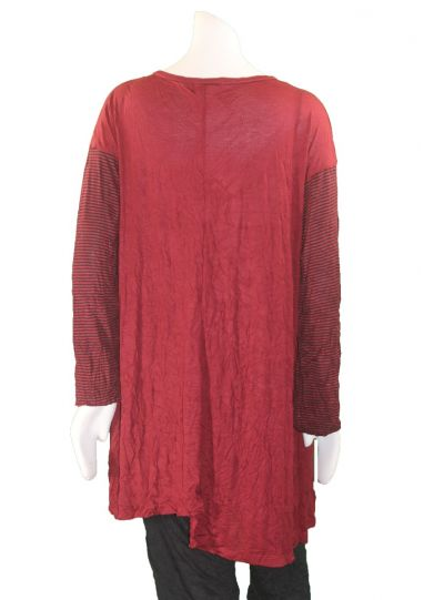 Comfy Plus Size Red/Black Crinkle Lucy Tunic WC624