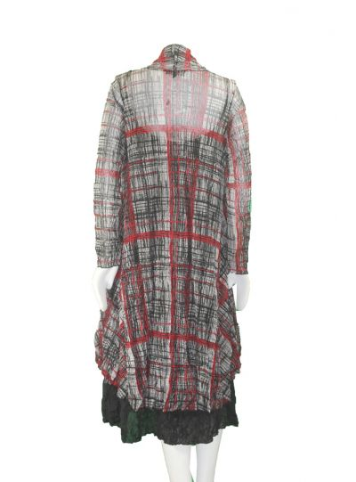 Comfy Plus Size New York Print Mesh Long Open Cardigan WES1106P