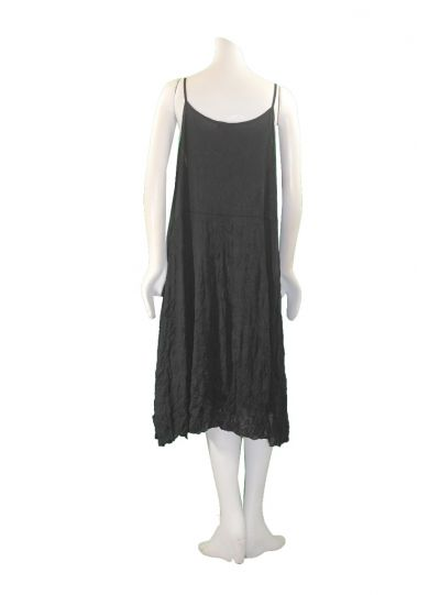 Comfy Plus Size Black/Mesh Crinkle Alana Tank Dress WES3013