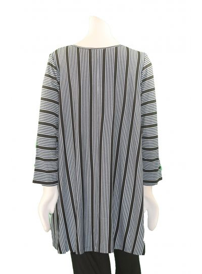 Comfy Plus Size Blue/Black Mindy Striped Button Sleeve Tunic WM807