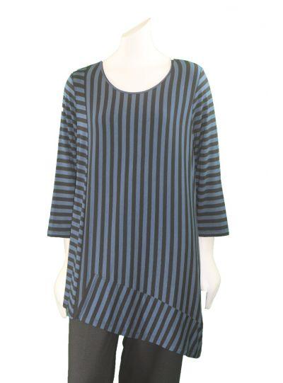 Comfy Plus Size Blue/Black Striped Scarlet Tunic WM851
