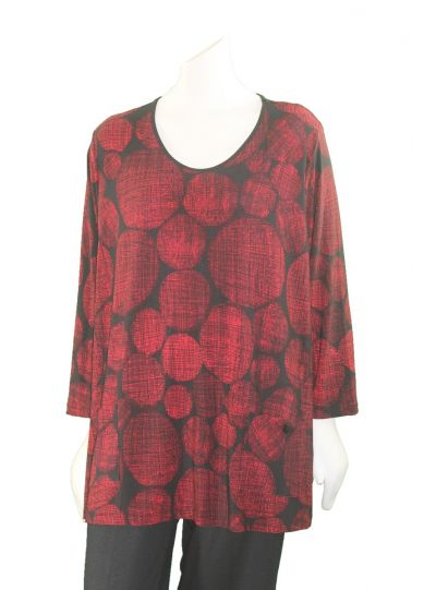 Comfy Plus Size Alice Print Black/Red Circle Top WSK178P