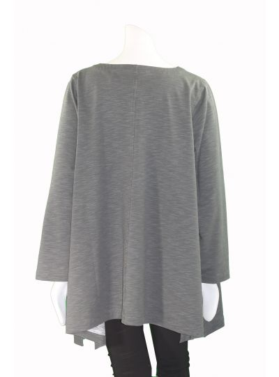 Cheyenne Plus Size Gray Pullover Line Tunic CT0804
