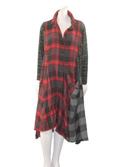 Alembika Black/Red Check One Pocket Half Button Dress D734B