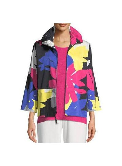 Caroline Rose Plus Size Multi Petal Pusher Zip Jacket 25300