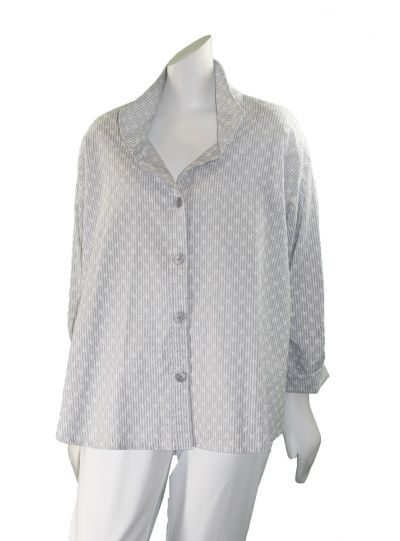 Dress to Kill One Size Grey/White Split Back Striped Stars Shirt