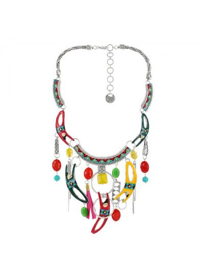 Taratata Multi Color Twirling Acrobats Necklace E18-08120-10M
