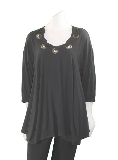 Ela Plus Size Black Grommet Neckline Top E192