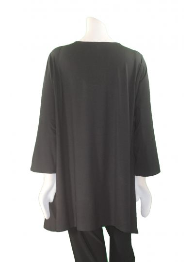 Ela Plus Size Black/White Grommets Pullover Tunic 697