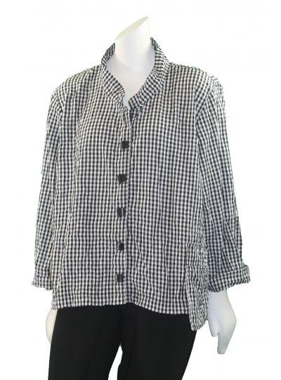 Ela Plus Size Black/White Crinkle Check Short Jacket 759