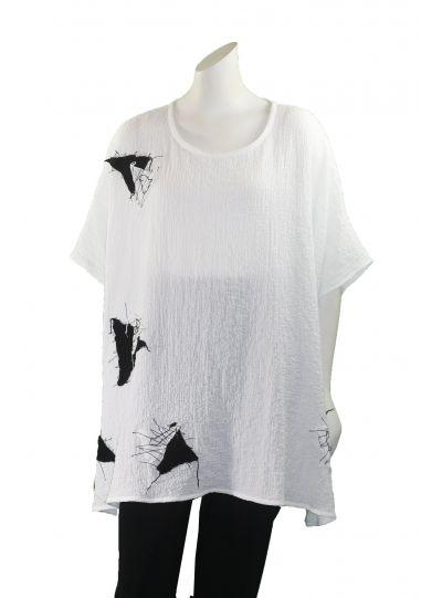 Ela White/Black Puckered Triangle Short Sleeve Tunic 770