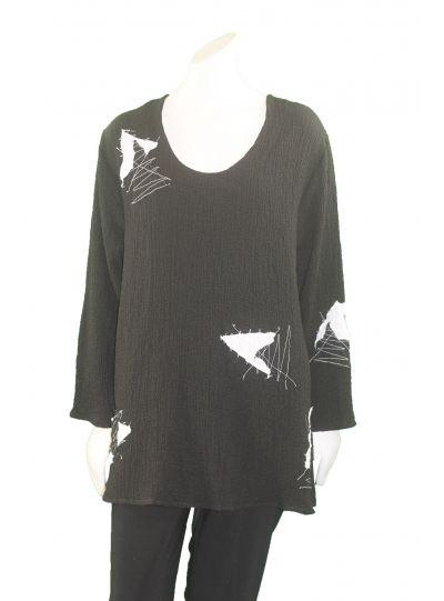 Ela Plus Size Black/White Puckered Triangle Top 771
