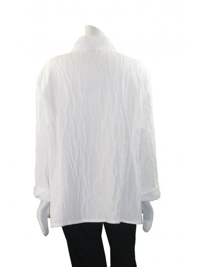 Ela Plus Size White Tree Bark Textured Blouse 784