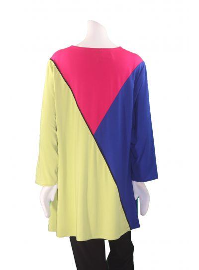 Ela Plus Size Multi Color Block Pullover Tunic 806