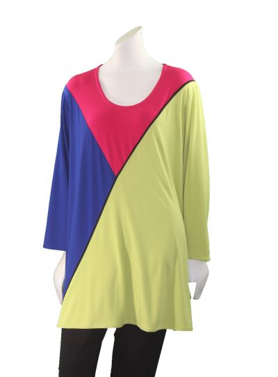 Ela Plus Size Multi Color Block Pullover Tunic 806