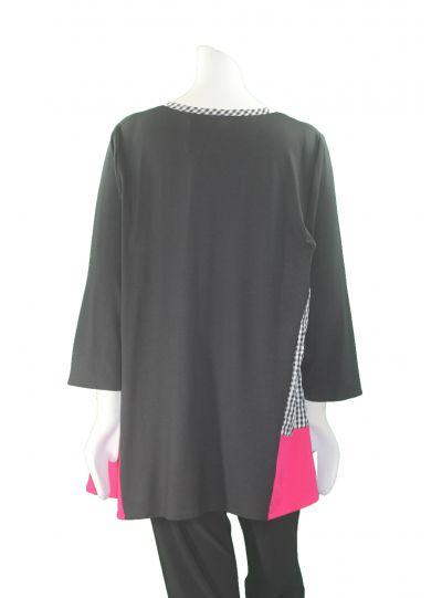 Ela Plus Size Black Check Pullover Style Aline Tunic 822