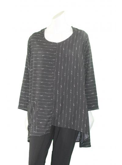 Ela Plus Size Black/White Squiggle Top 835