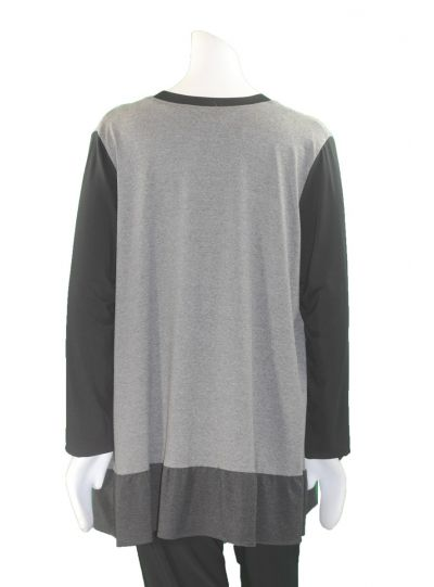 Ela Plus Size Grey Flounce Bottom Tunic 270-18