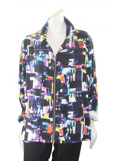 Erin London Plus Size Multi Color Print Zip Front Jacket 23850X