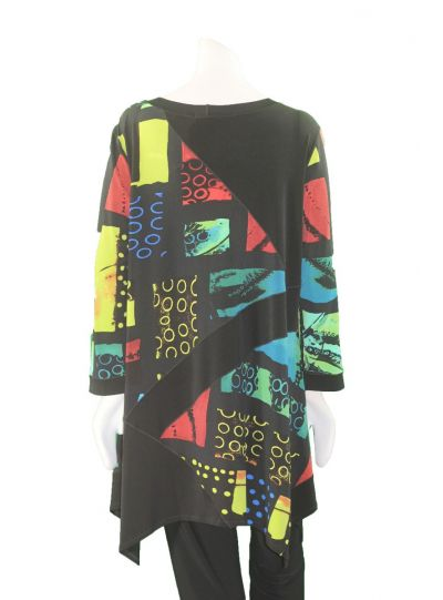 Eva Varro Plus Size Black/Glass Print Pullover Tunic T12275X
