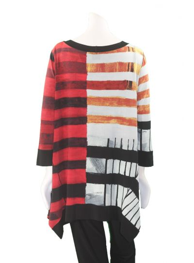 Eva Varro Plus Size Red/Multi Striped Print Tunic T12352UX