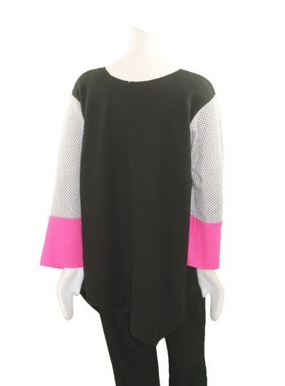Margaret Winters Plus Size Black/White/Pink Asym Sweater FM19