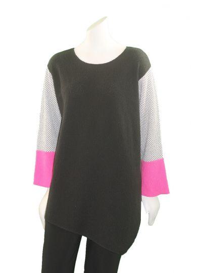 Margaret Winters Plus Size Black/White/Pink Asym Sweater FM19