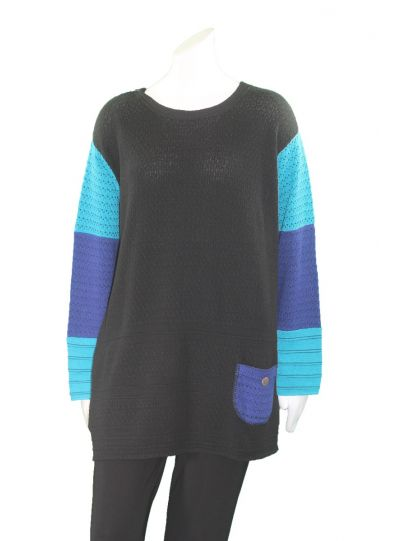 Margaret Winters Plus Size Black/Blue Reversible Sweater FM784MM