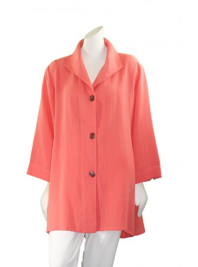 Fridaze Plus Size Papaya Long Coconut Button Swing High Low Shirt AA183-CL4385