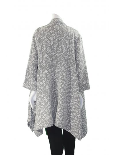 Gerties Grey/White Open Front Kimono Jacket 713-3082