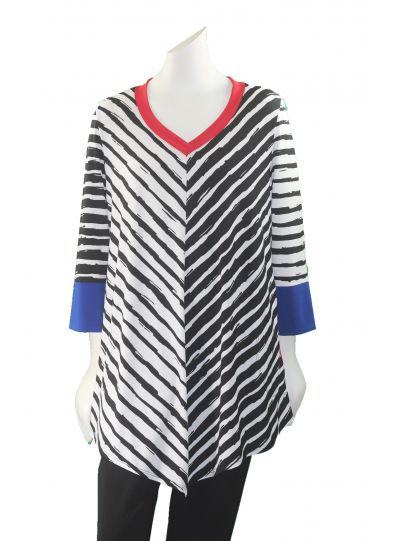 IC Collection Black/White/Red/Blue Striped Pullover Tunic 1034T
