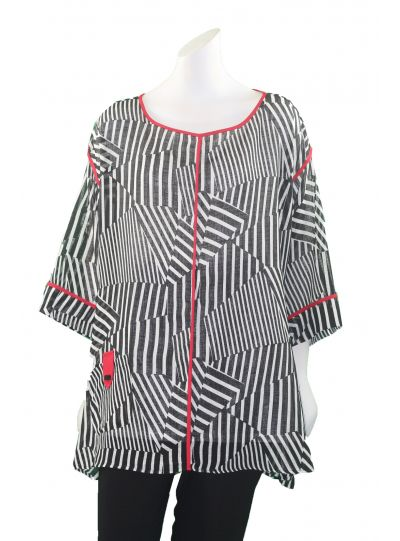 IC Collection Zebra Print Pullover Style Red Trim Top 1035T