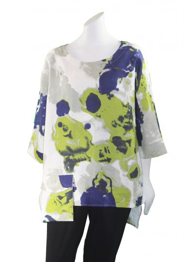 IC Collection Multi Print Linen Top 1162T