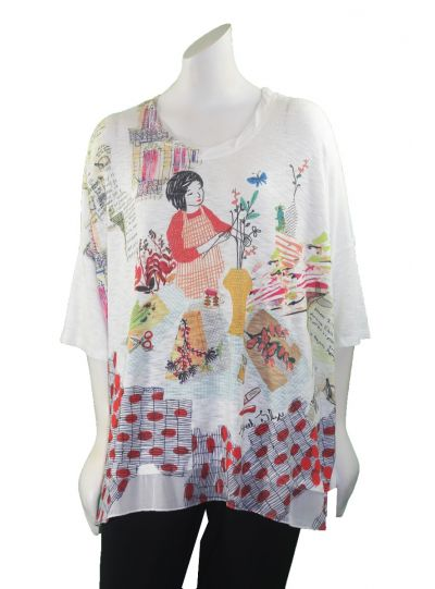 Inoah White/Lady in Garden Over Sized Tunic T326-K45