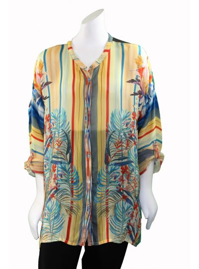 Johnny Was Multi Mardi Over sized Blouse C14217A7
