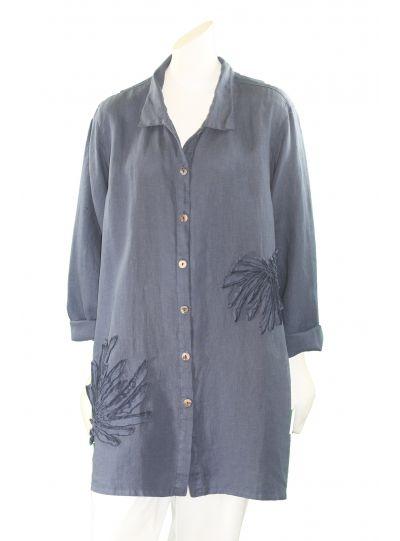 Kleen Plus Size Dark Blue L/S Linen Flower Big Shirt B1815002X