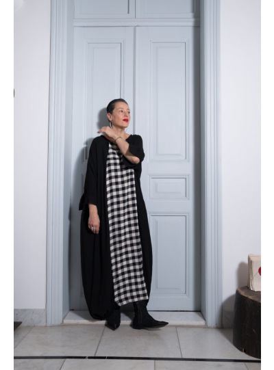 Kedem Sasson Black/Black-Cream Check Pullover Dress KS7068